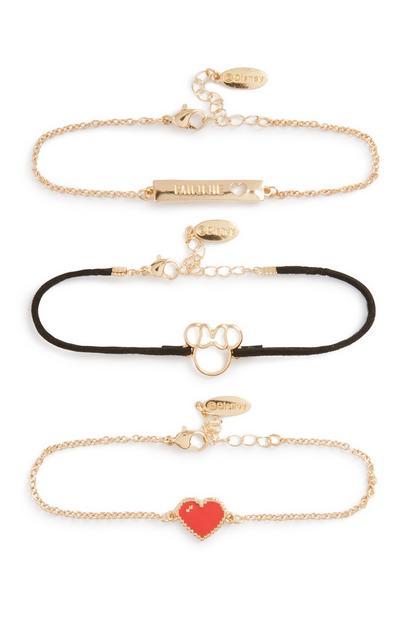 Minnie Mouse Heart Bracelet 3Pk