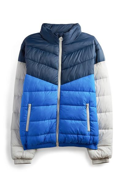 Navy Colourblock Puffer Coat