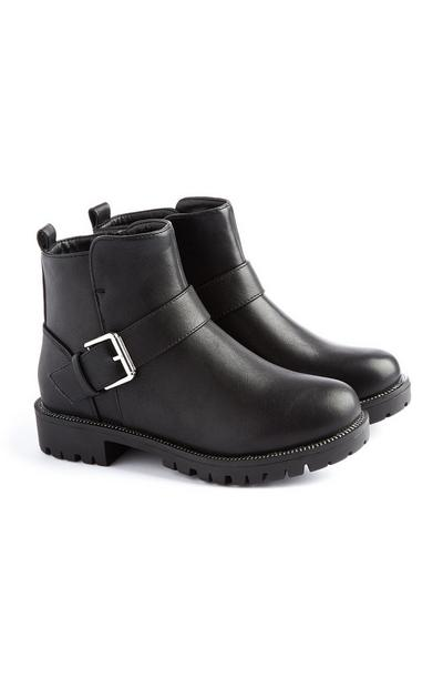 Younger Girl Black Buckle Boot