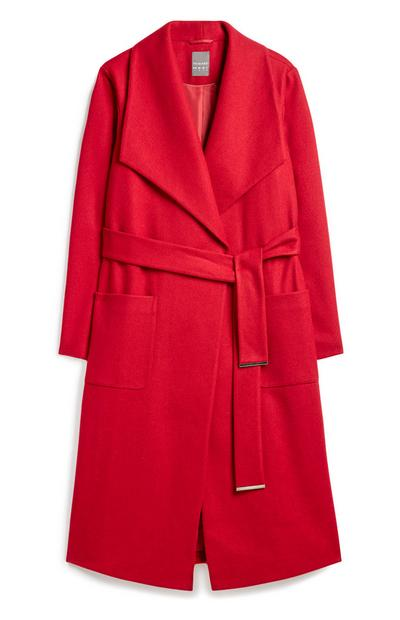 Red Wrap Belted Coat