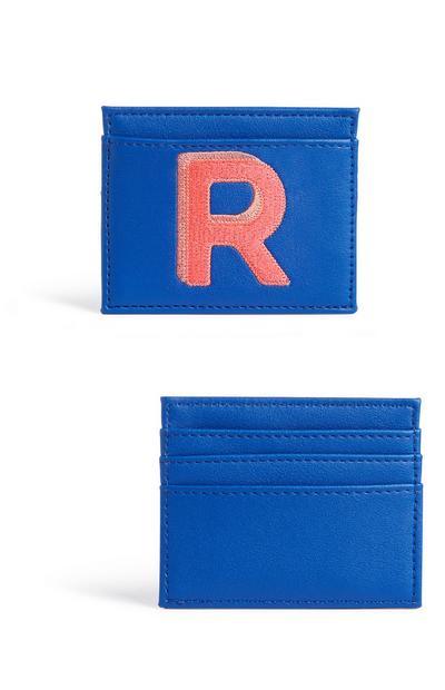 Blue Initial Card Holder