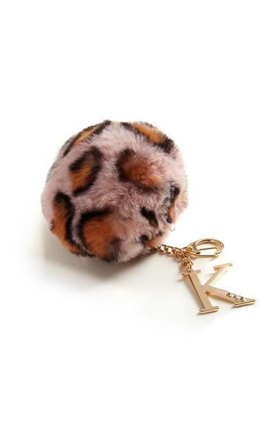 Pom Pom K Initial Keychain