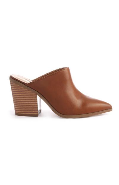 Tan Closed Toe Mule