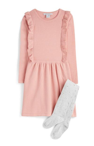 Younger Girl Pink Frill Dress And Tights