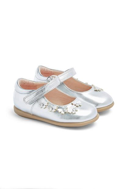 Baby Girl Silver Butterfly Shoes