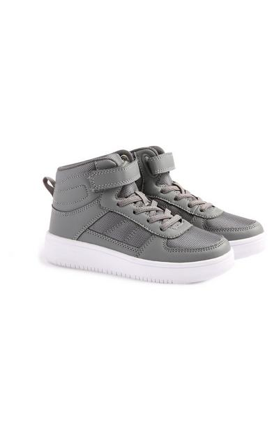 Younger Boy Grey Hi Top Trainers
