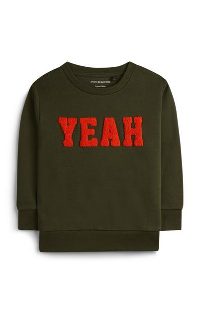 Younger Boy Green Slogan Jumper