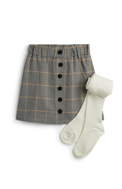Younger Girl Check Skirt And Tights Set