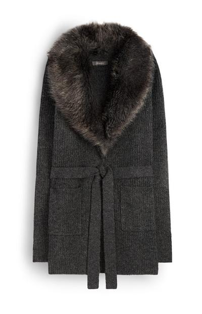 Faux Fur Belted Cardigan