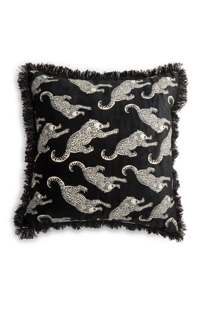 Fringed Leopard Cushion
