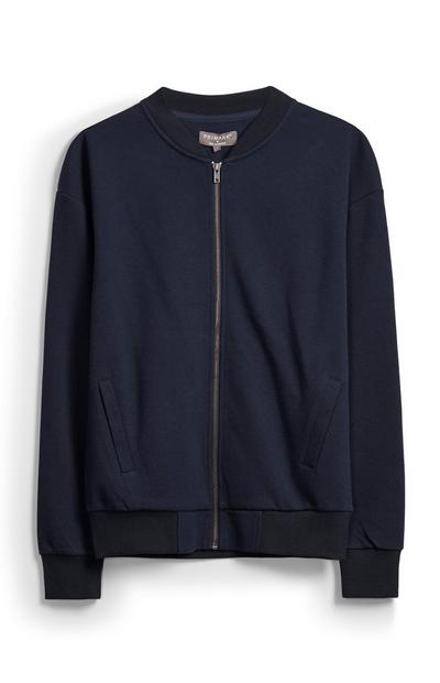 Textured Navy Bomber Jacket