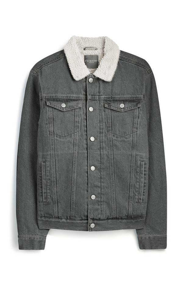 Grey Denim Borg Jacket