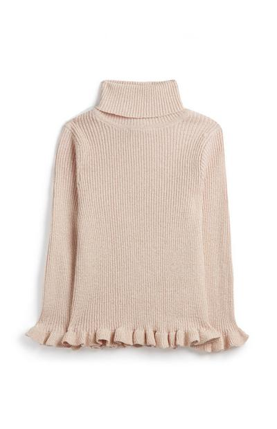 Younger Girl Frill Turtle Neck Jumper