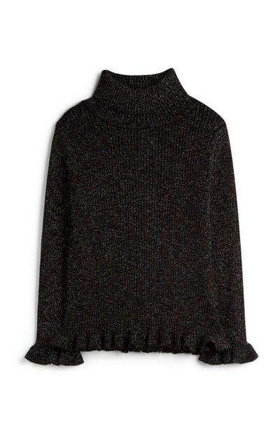 Younger Girl Sparkle Roll Neck