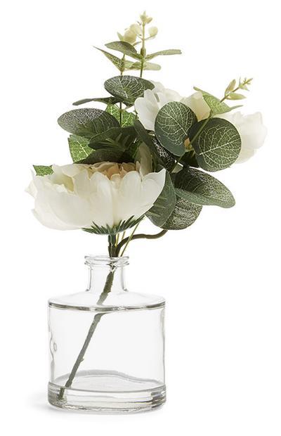 White Faux Flower In Vase