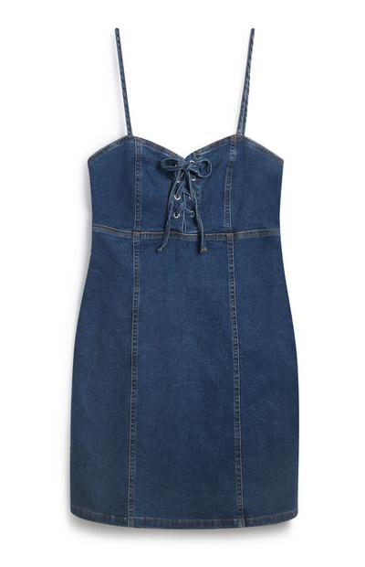 Blue Denim Tie Front Dress