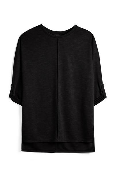 Black Roll Sleeve Top