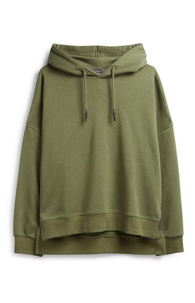 Khaki Split Side Hoodie