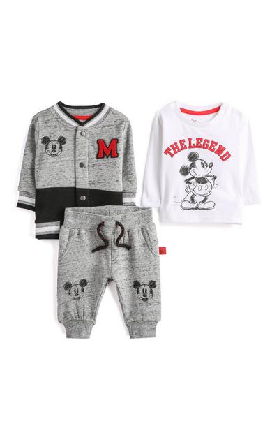 Baby Boy Grey Mickey Mouse Outfit 3Pc