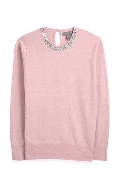 Blush Jewell Neck Jumper