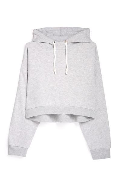 Grey Crop Hoodie