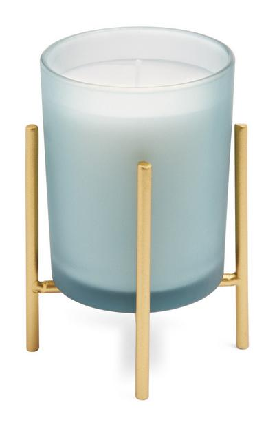 Turquoise Candle With Gold Stand