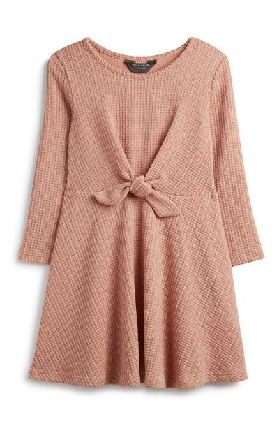 Younger Girl Pink Tie Front Dress