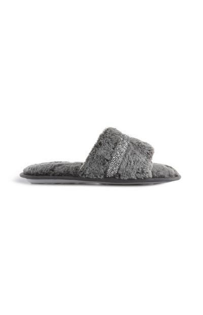 Grey Fluffy Sliders