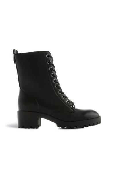 Black Lace Up Ankle Boots