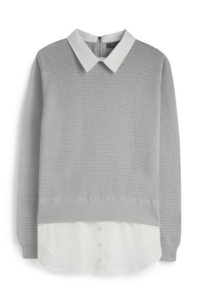 Grey 2 IN 1 Jumper And Shirt