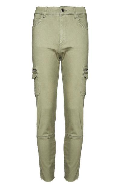 Green Skinny Cargo Trousers