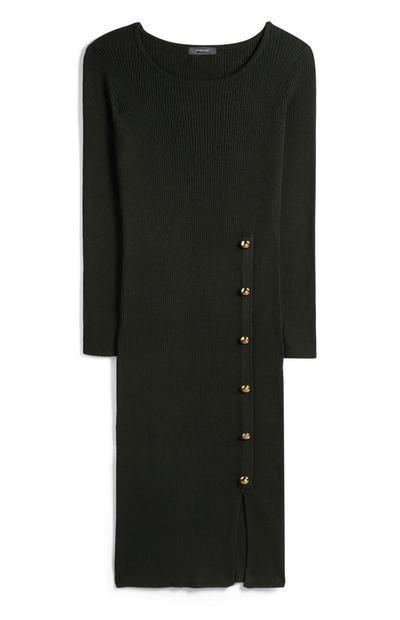 Khaki Button Through Midi Dress