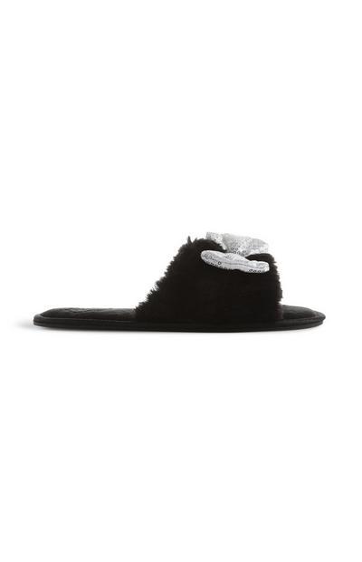 Black Minnie Mouse Fur Slider