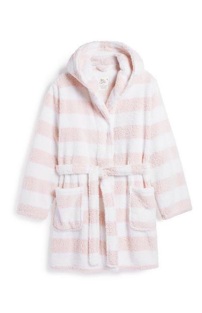 Bademantel mit rosa Streifen