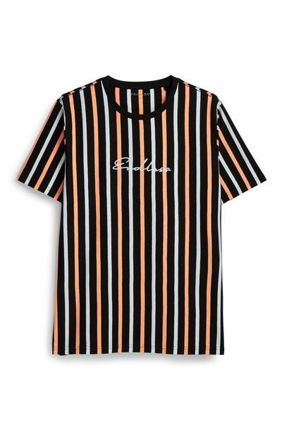 Black Neon Orange Stripe T-Shirt