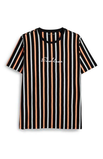 Black Neon Orange Stripe T-Shirt