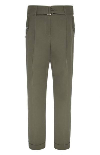Khaki Belted Peg Trouser