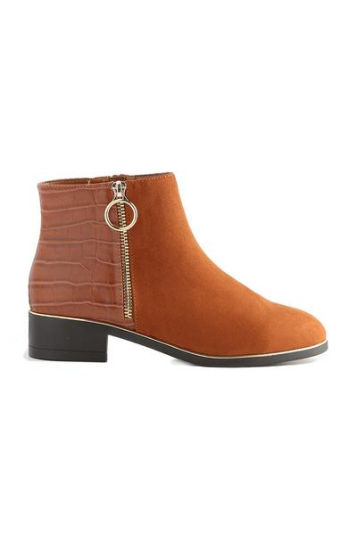 Tan Side Zip Boot