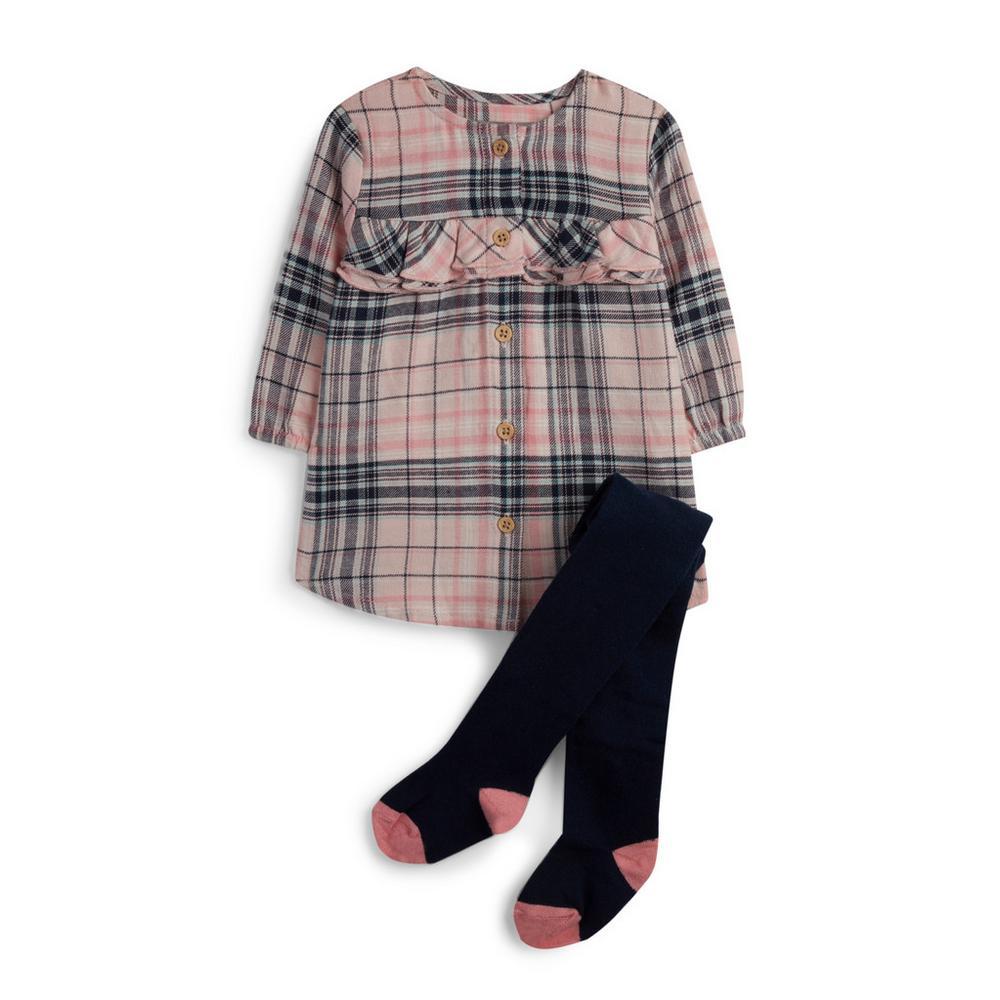 Vestido A Cuadros Y Medias Para Bebé Niña Vestidos Y Monos