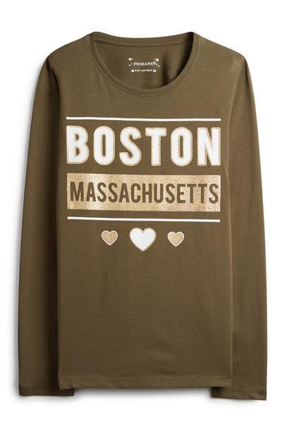 Older Girl Khaki Boston Top