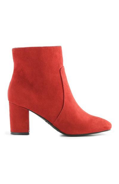 Red Block Heel Boot