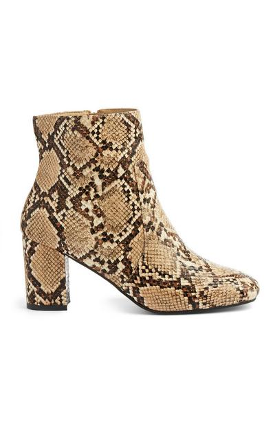 Snake Block Heel Boot