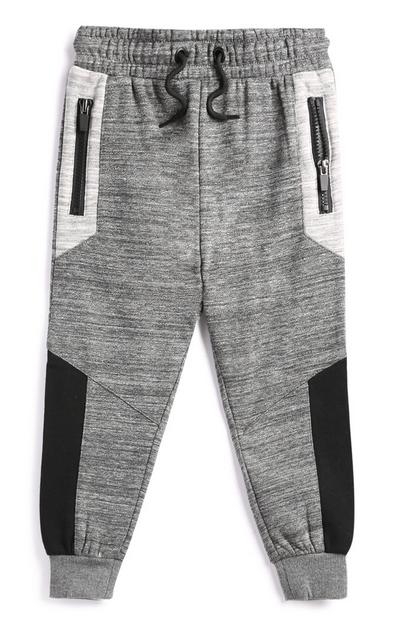 Younger Boy Grey Colour Block Joggers