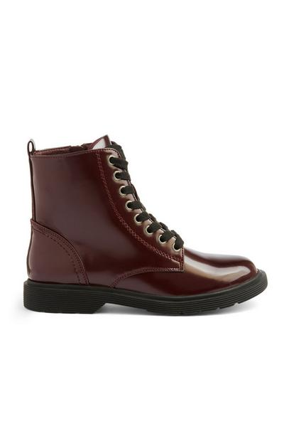 Maroon Lace Up Boot