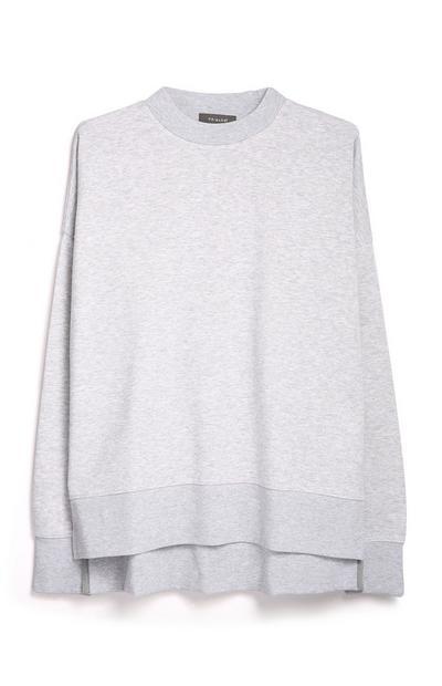 Grey Split Hem Sweatshirt