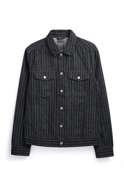 Navy Pinstripe Denim Jacket