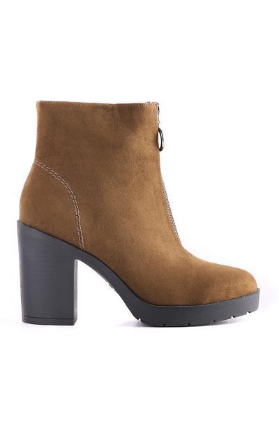 Olive Zip Front Boot