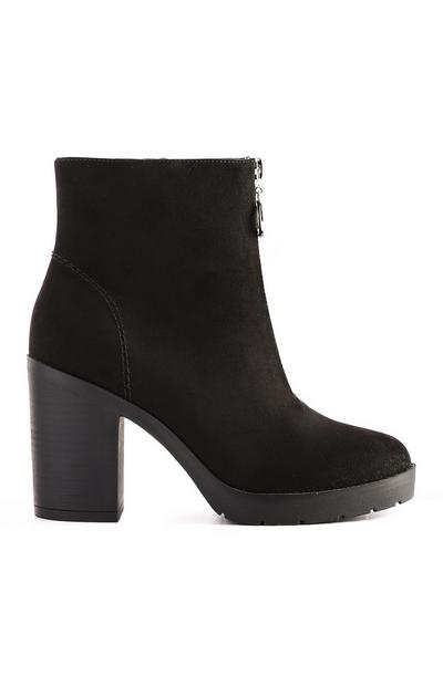 Black Zip Front Boot