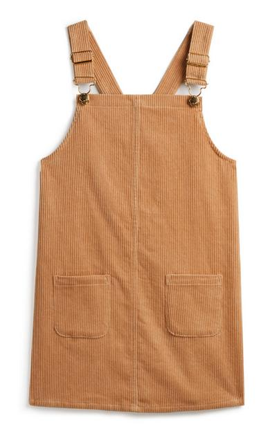 Younger Girl Tan Pinafore Dress