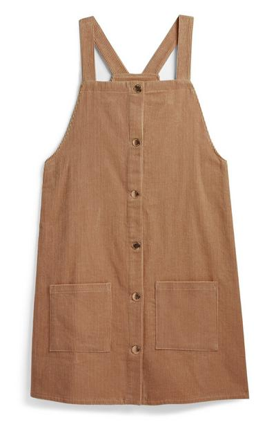 Older Girl Tan Pinafore Dress